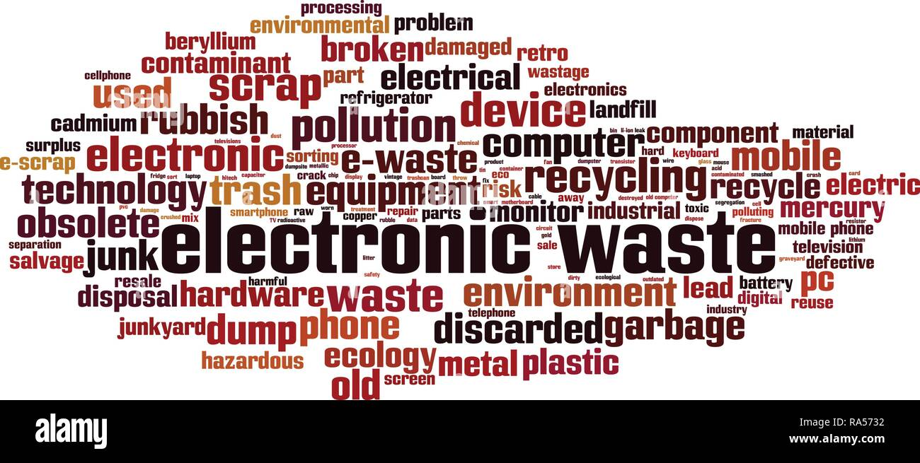 Déchets électroniques mot concept cloud. Vector illustration Photo Stock