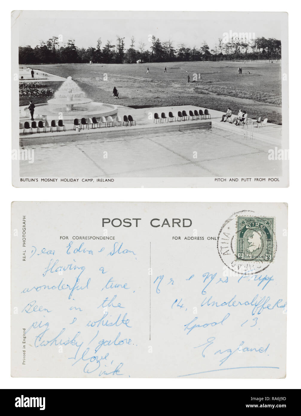 Carte postale envoyée de Butlin's Mosney Holiday Camp, l'Irlande à Edna et Stan Fripp, 14 Undercliffe Road, Liverpool dans les années 1950 Photo Stock