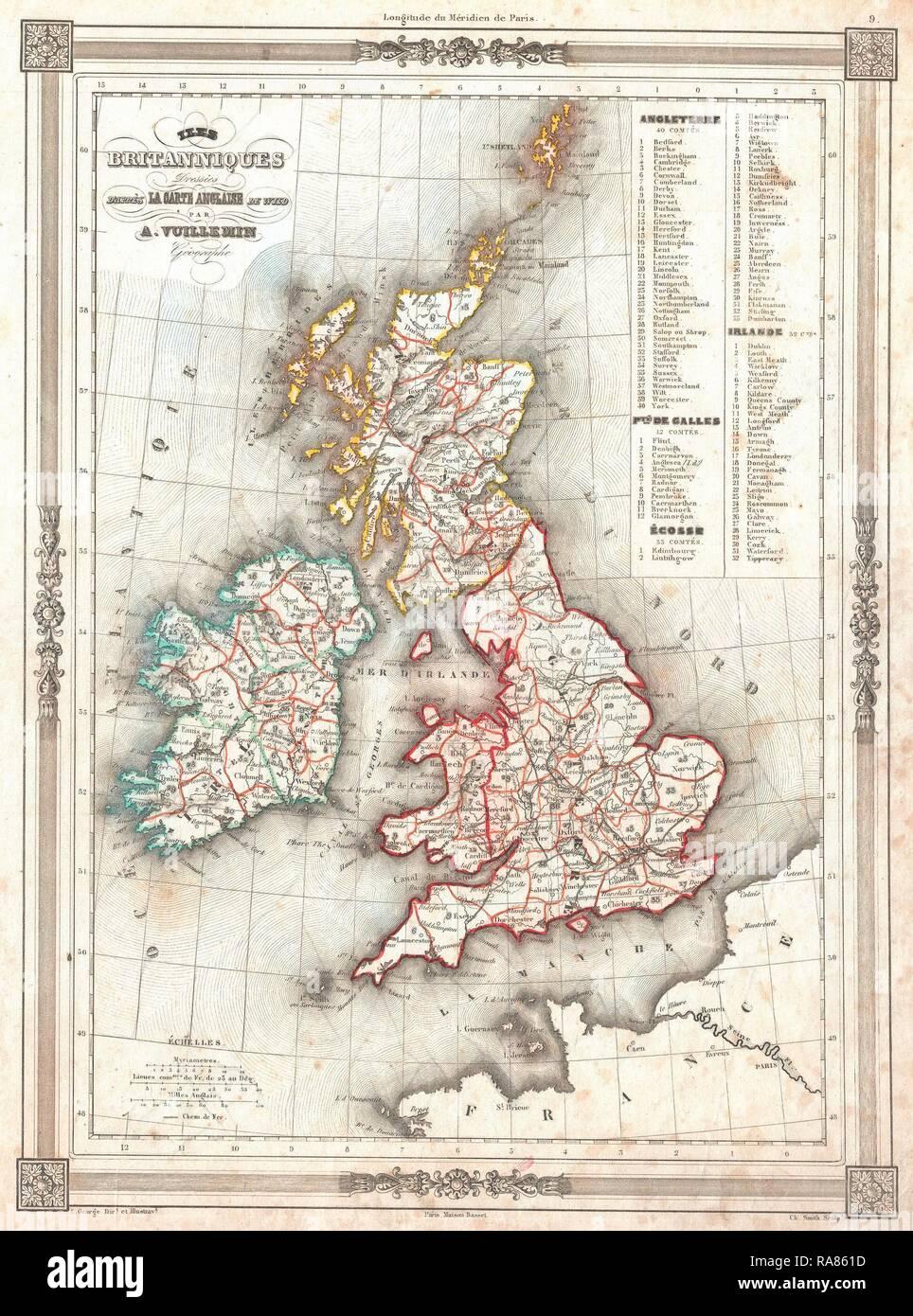 Carte Angleterre Irlande Ecosse.1852 Vuillemin Carte Des Iles Britanniques L Angleterre L Irlande
