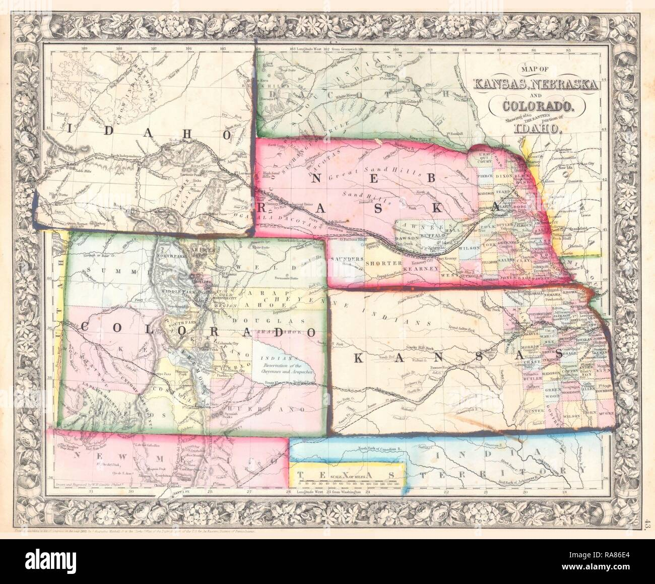 Old Vintage Map County /& Township of Kansas and Nebraska Mitchell 1874