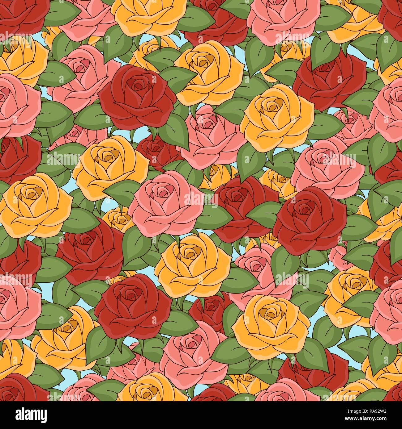 Dessin Avec La Main modèle sans couture roses, dessin à la main, vector