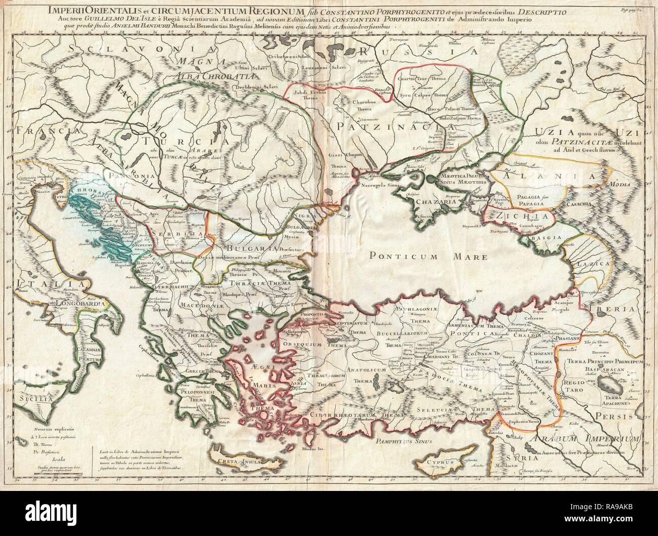 1715, De L'Isle Carte de l'Empire romain sous Constantin, l'Asie mineure, de la mer Noire, les Balkans. Repensé Photo Stock