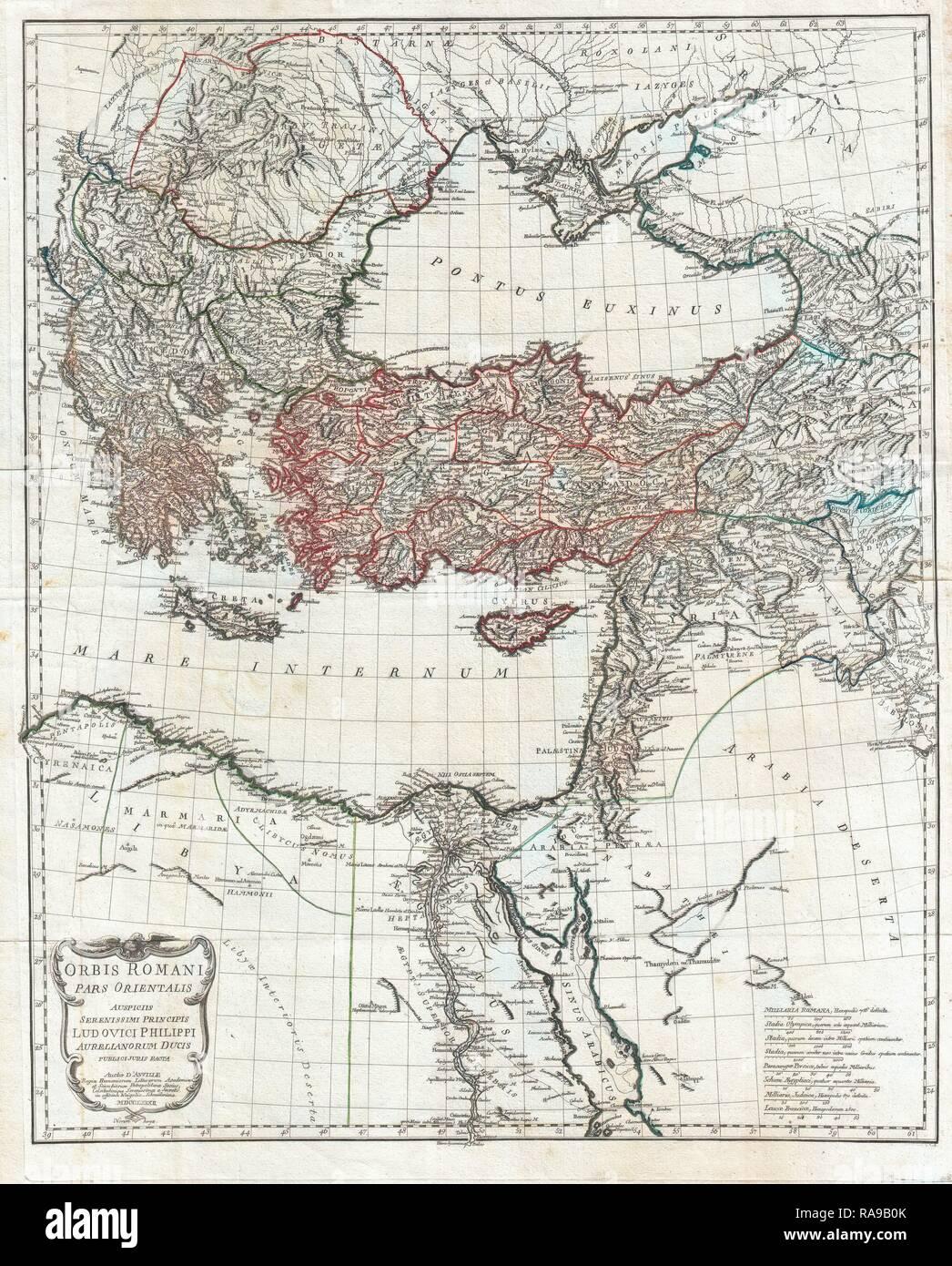 1782, la carte d'Anville de l'Empire romain. Repensé par Gibon. L'art classique avec une touche moderne repensé Photo Stock