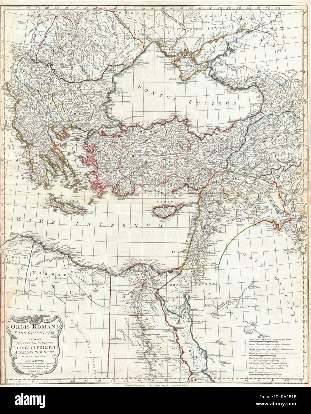 1794, Anville Site de l'Empire Romain, la Grèce inclues. Repensé par Gibon. L'art classique avec une touche moderne repensé Photo Stock