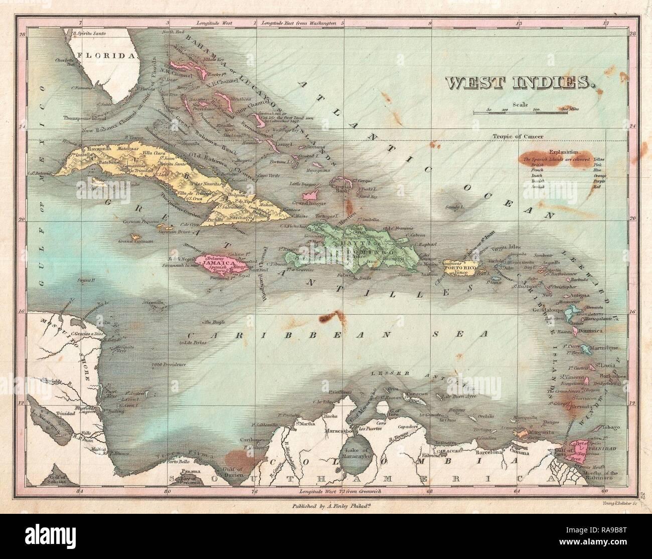 1827, Finley Site des Antilles, Caraïbes, Antilles, et Anthony Finley cartographe de l'Organisation des États de la repensé Banque D'Images