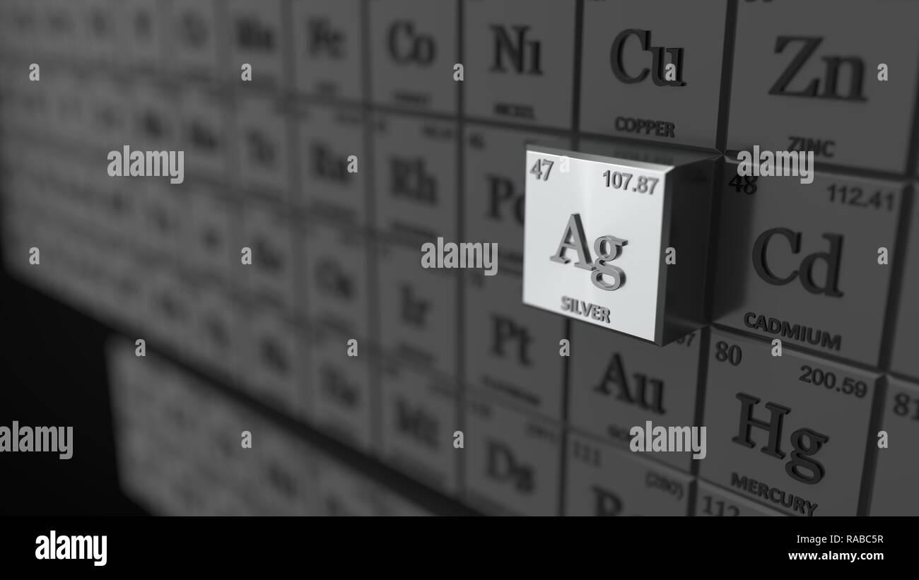 Tableau Periodique Concept Avec Glacons Argent Element Selectionne 3d Illustration Photo Stock Alamy