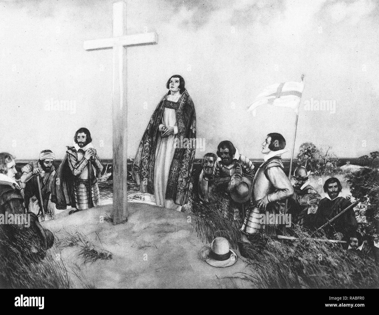 Colons anglais mis en place une croix à Jamestown, Virginie en 1607 Banque D'Images