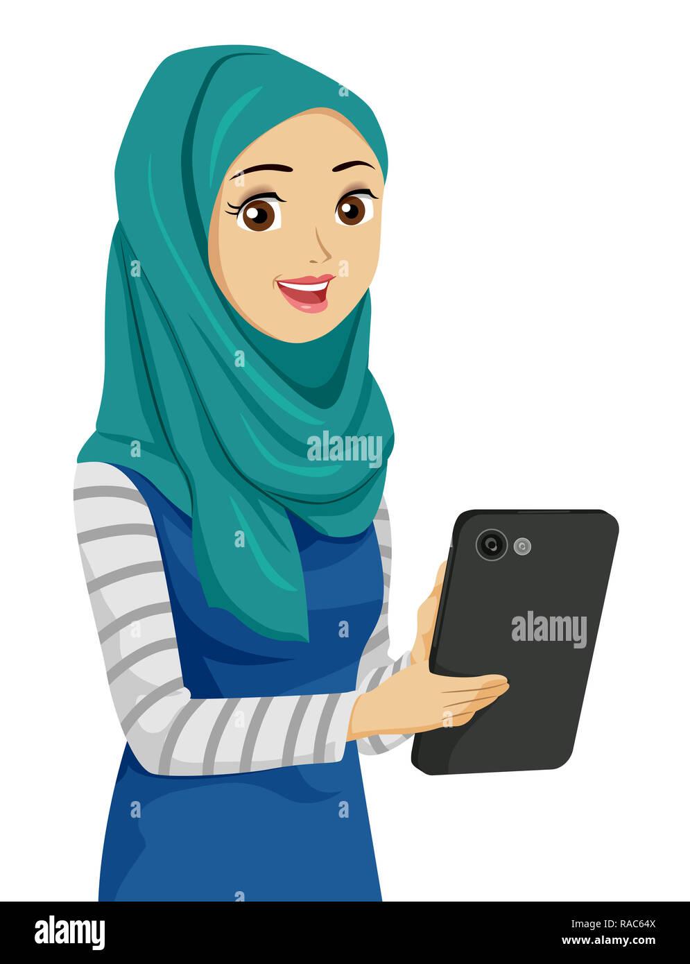 c7c0ee892ab Illustration d une jeune fille musulmane portant un foulard et à l aide  d un ordinateur Tablet