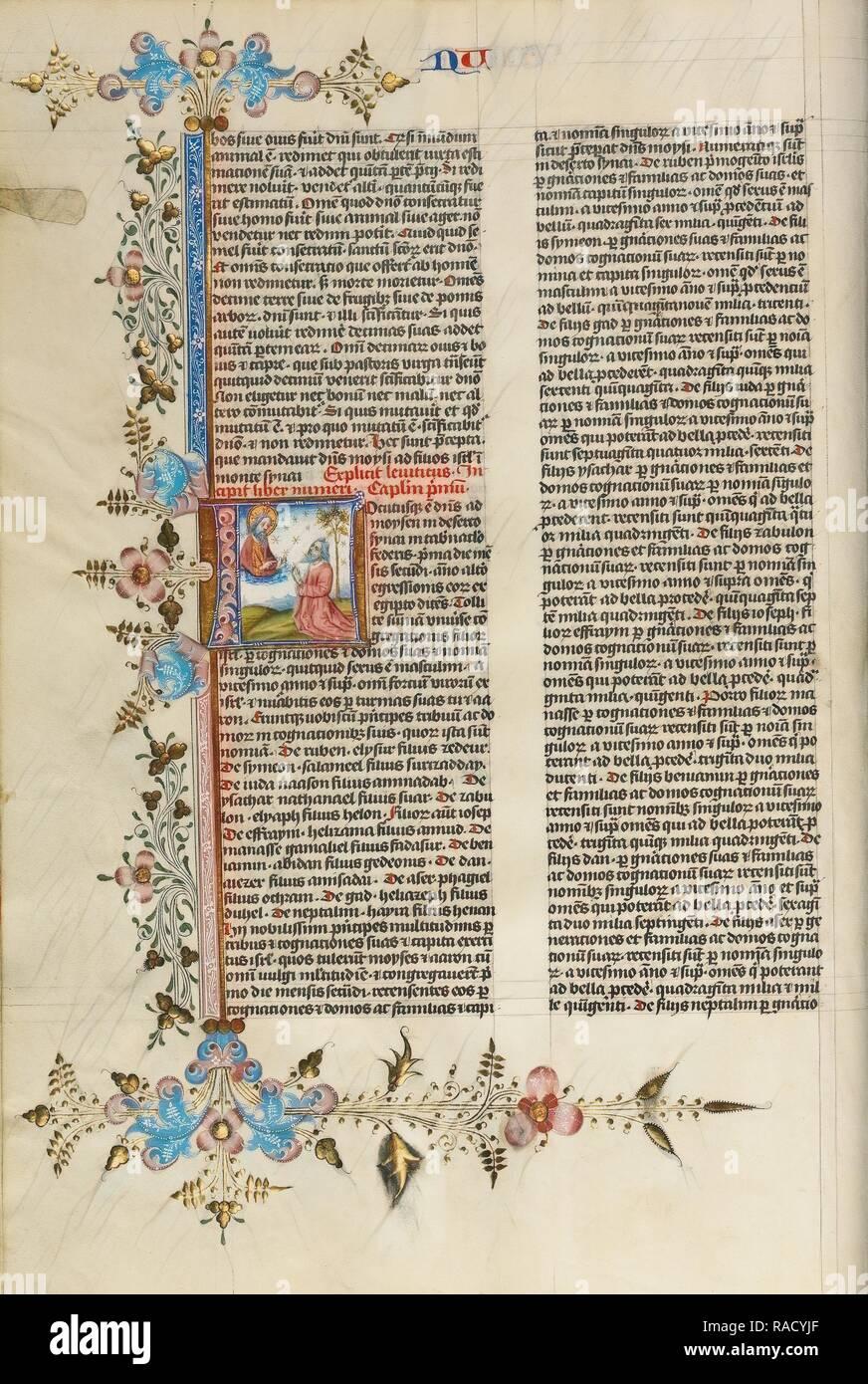 L initiale: Dieu parlant à Moïse, cercle de Stefan Lochner (allemand, est mort 1451), Cologne, Allemagne, 1450, l'or repensé Photo Stock