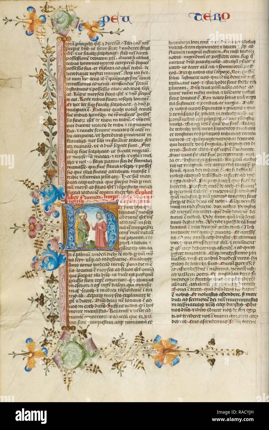 H initiale: Moïse parlant aux Israélites, cercle de Stefan Lochner (allemand, est mort 1451), Cologne, Allemagne, à propos de repensé Photo Stock