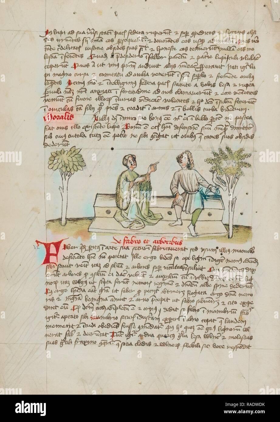 Une femme parlant à un cavalier, Trèves (probablement), l'Allemagne, troisième trimestre de 15e siècle, la plume et l'encre noire et repensé Photo Stock