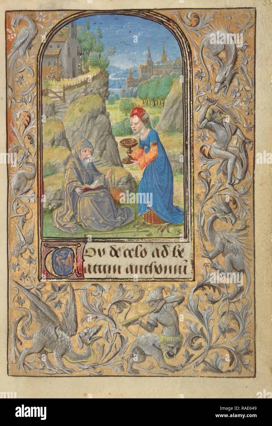 La Tentation de Saint Antoine, Lieven Van Lathem (flamande, sur 1430 - 1493), Anvers (allumé), Belgique, 1469 repensé Photo Stock