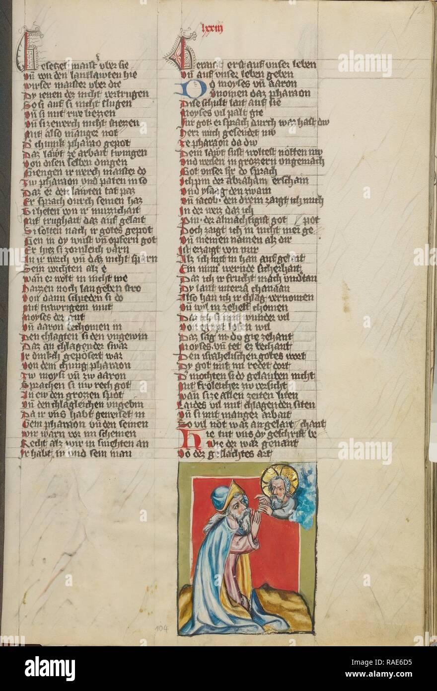 La Parole de Dieu à Moïse, Regensburg, Bavière, Allemagne, environ 1400 - 1410 couleurs, Tempera, or, argent, de peinture et d'encre repensé Photo Stock