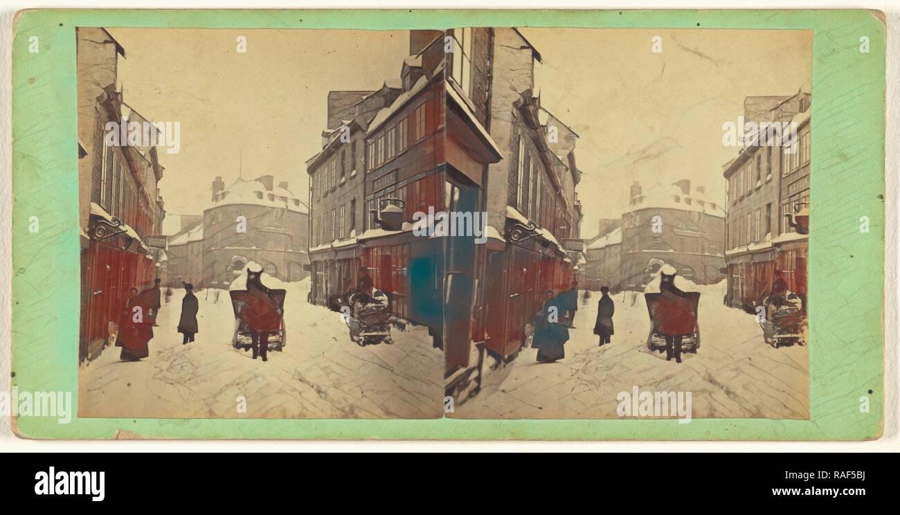 Le Québec. Transporter la neige, après une tempête de neige, L.P. Vallée (canadien, 1837 - 1905, Québec, Canada) Actif 1865 - 1875 repensé Photo Stock