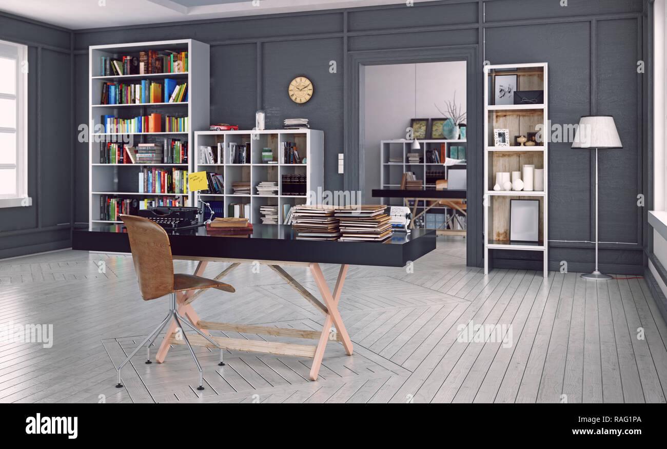 Bureau d'accueil moderne de l'intérieur. La conception 3D Rendering. Effet visuel de profondeur de champ Photo Stock