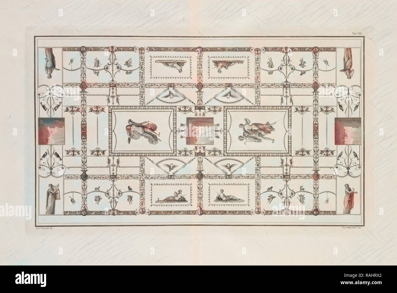 Tavola IX, Le antiche chambres esqviline comvnemente sådanne, delle Terme di Tito, Romanis, Antonio de, gravure, 1822 repensé Photo Stock