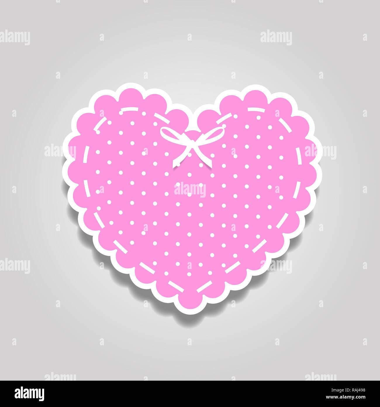Rose et blanc coupe papier autocollant coeur dentelle avec motif à pois et ruban. Coeur stamp pour douche de fille de bébé, de mariage ou de Saint-Valentin desi scrapbook Photo Stock