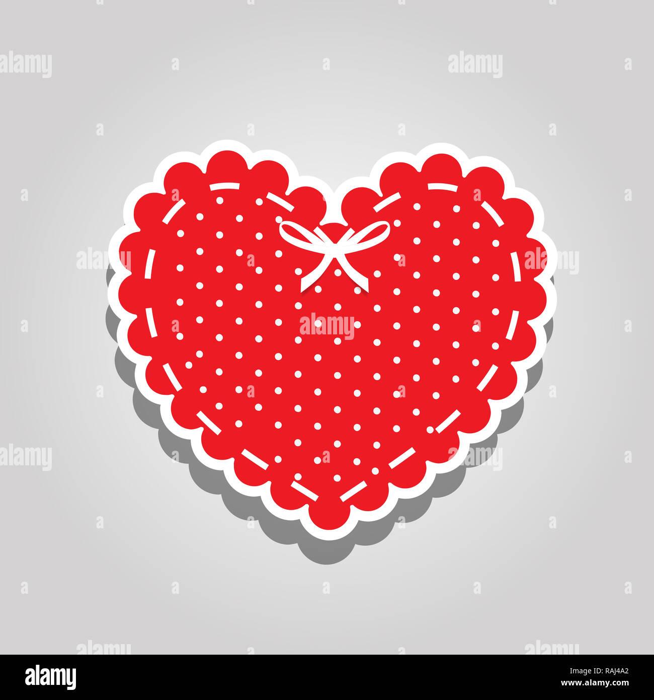 Coeur rouge avec motif à pois blanc, laçage et ruban isolé sur fond blanc. Élément de design d'album. Amour Saint Valentin ou sti mariage Photo Stock