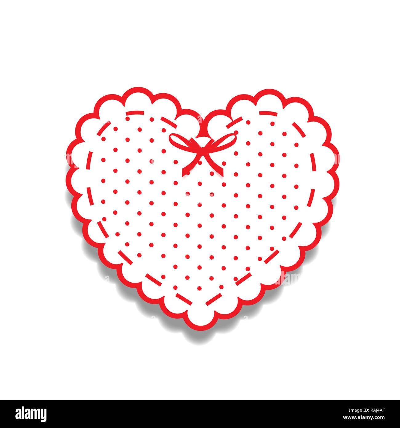Coupe papier rouge et blanc lacy girly heart, un autocollant avec ruban et motif à pois. Coeur stamp pour la conception de bébé ou album de mariage ou de Saint-Valentin je Photo Stock