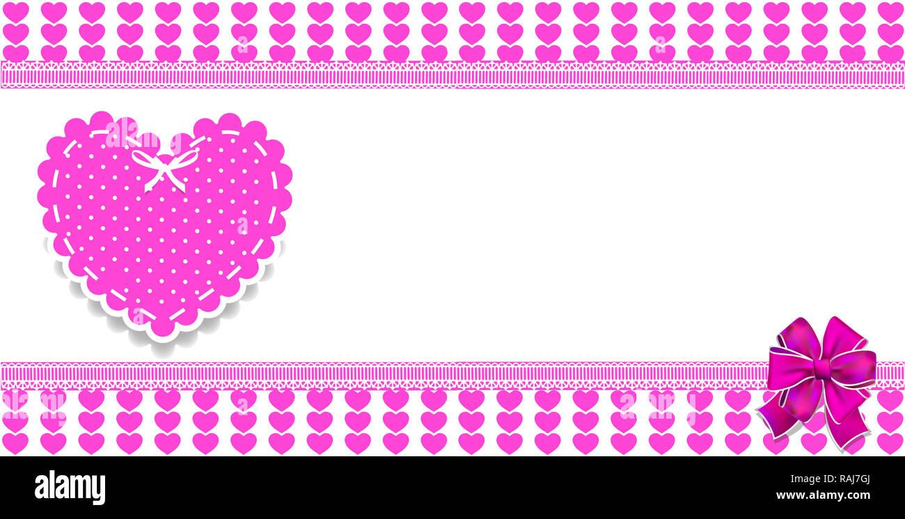 Cute modèle avec motif coeurs roses, l'espace pour le texte et les gros autocollant coeur dentelle à pois et ruban. border, cadre, bannière, affiche pour vale Photo Stock