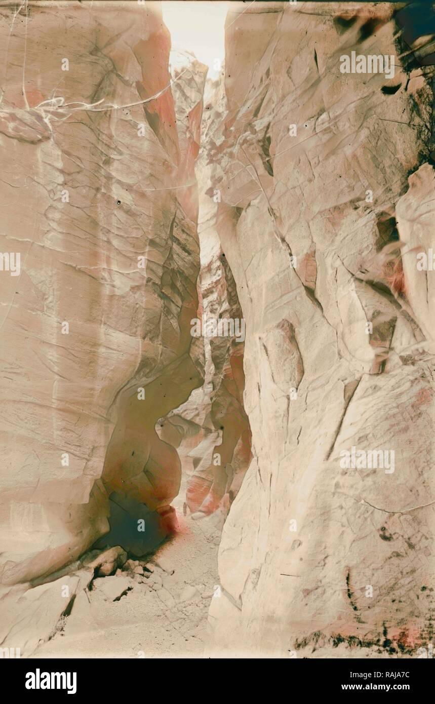 Petra. Sik et premier aperçu de Temple d'el-Khazneh. 1898, Jordanie, Petra (éteint). Repensé Photo Stock