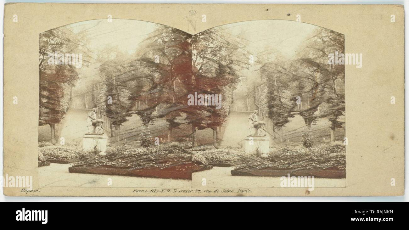Jardins se réserve, Rond-point du Centaure, France, Charles Paul Furne, Henri Tournier, 1858. Repensé Photo Stock