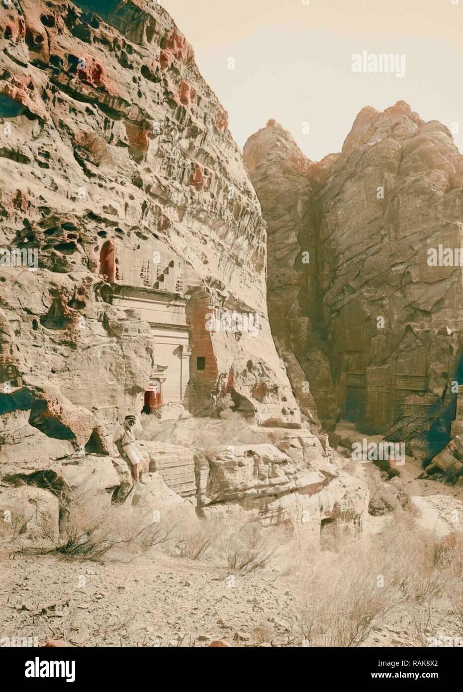 Petra en Transjordanie, tombes à l'entrée ouest de la SIK 1900, Jordanie, Petra (éteint). Repensé Photo Stock