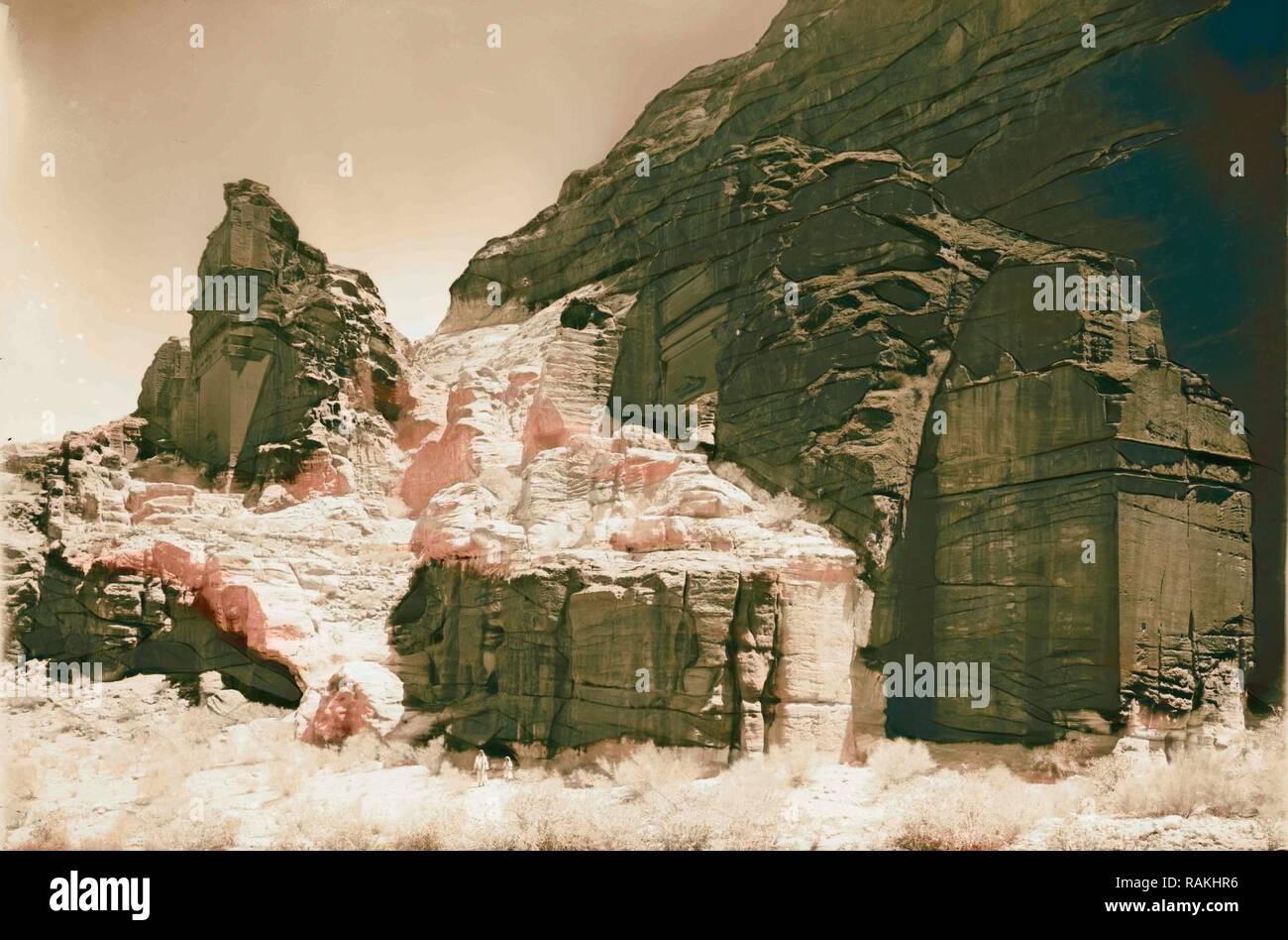 La Cisjordanie. Petra. Types de tombeau. Sik inférieur. 1898, Jordanie, Petra (éteint). Repensé par Gibon. L'art classique avec repensé Photo Stock