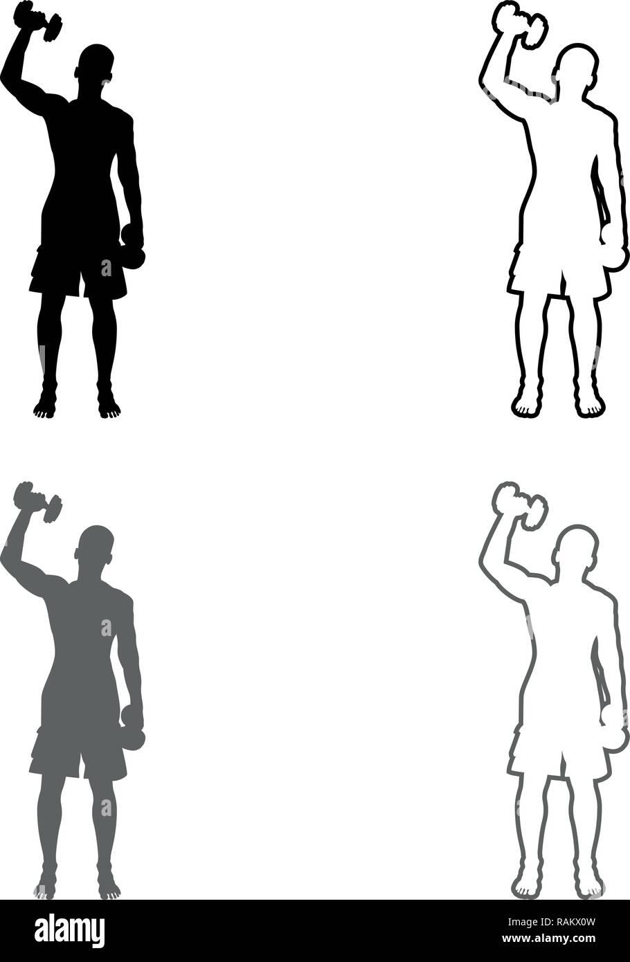 L Homme De Faire Les Exercices Avec Halteres Courtes Action Sport Entrainement Male Silhouette Vue De Face Icon Set Vecteur De Couleur Gris Noir Contour Style Plat Je Tr Image Vectorielle Stock