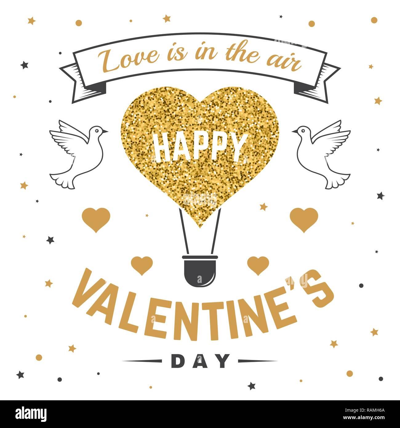 Happy Valentines Day. Tout ce qu'il vous faut, c'est l'amour. Stamp, superposition, badge, autocollant, carte avec les oiseaux et ballon à air chaud. Vecteur. Vintage design Valentines Day célébration romantique dans l'emblème de style rétro. Illustration de Vecteur