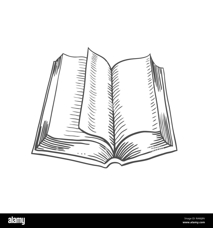 Livre Ouvert Isole Sur Fond Blanc Vector Illustration
