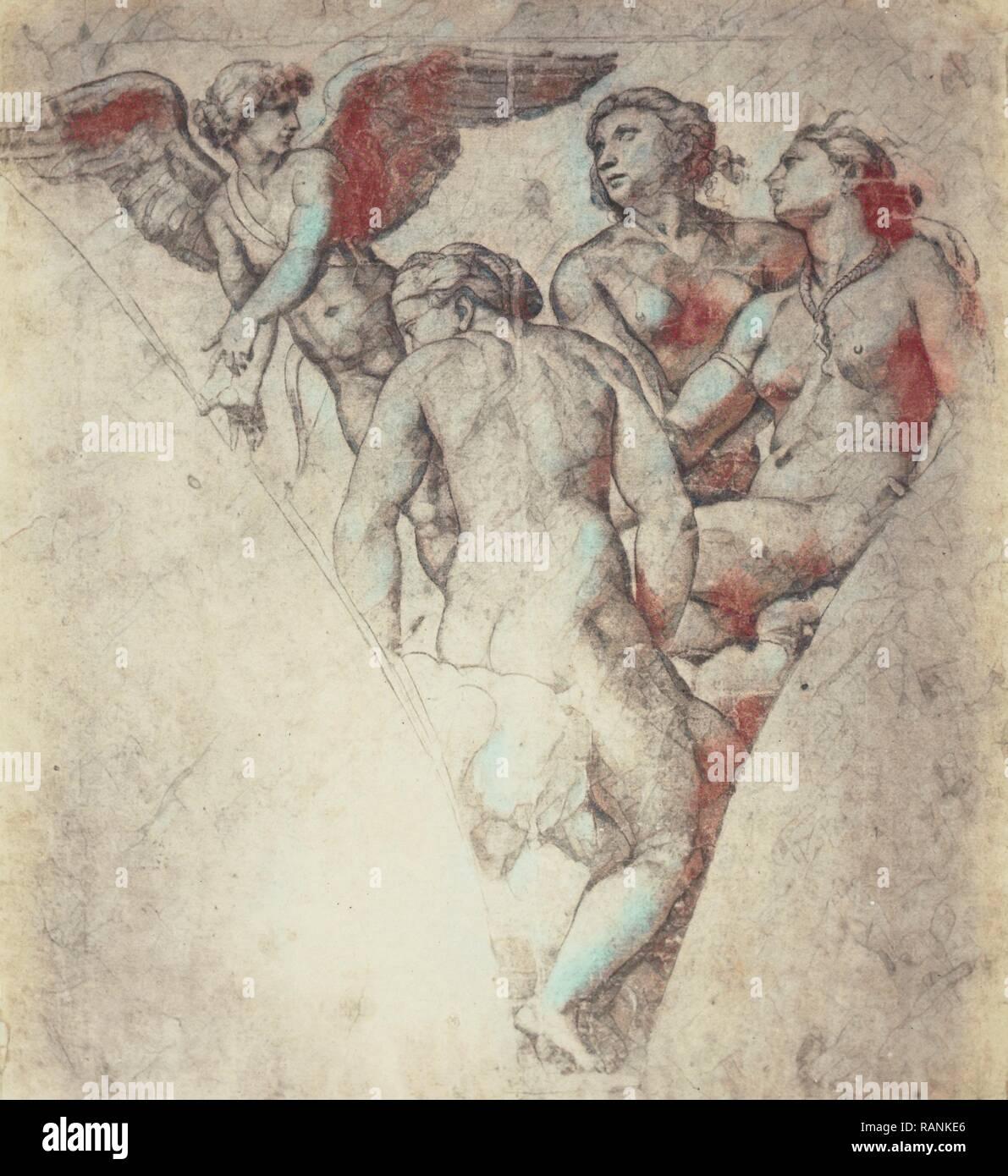 Raphael Dessin Du Chateau De Windsor Angel Et Trois Femmes