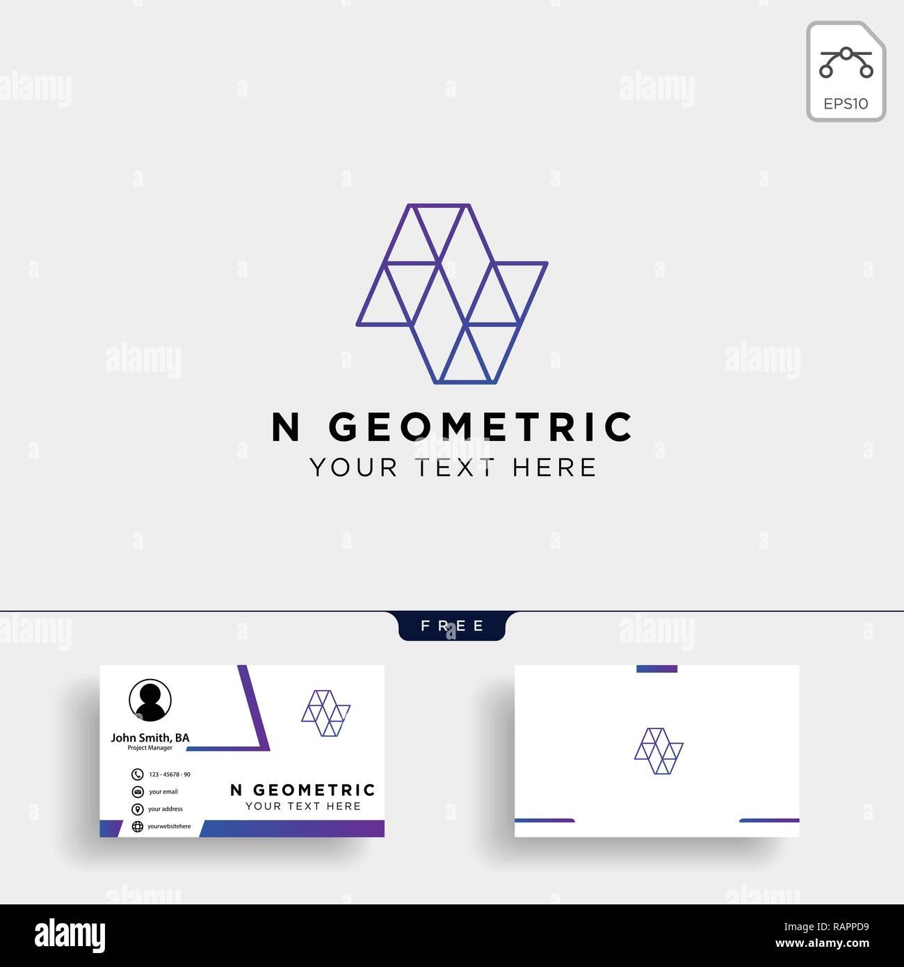 Lettre N Logo Geometrique De Carte Visite Avec Modele