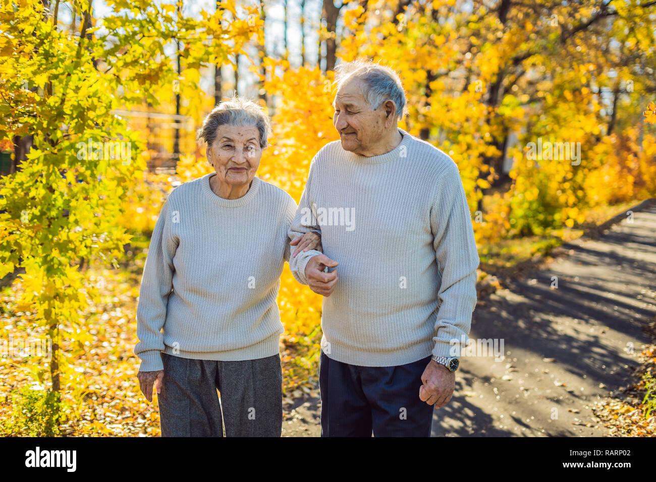 Heureux les personnes âgées dans la forêt d'automne. la famille, l'âge, la saison et les gens concept - happy senior couple marchant sur les arbres d'automne background Banque D'Images