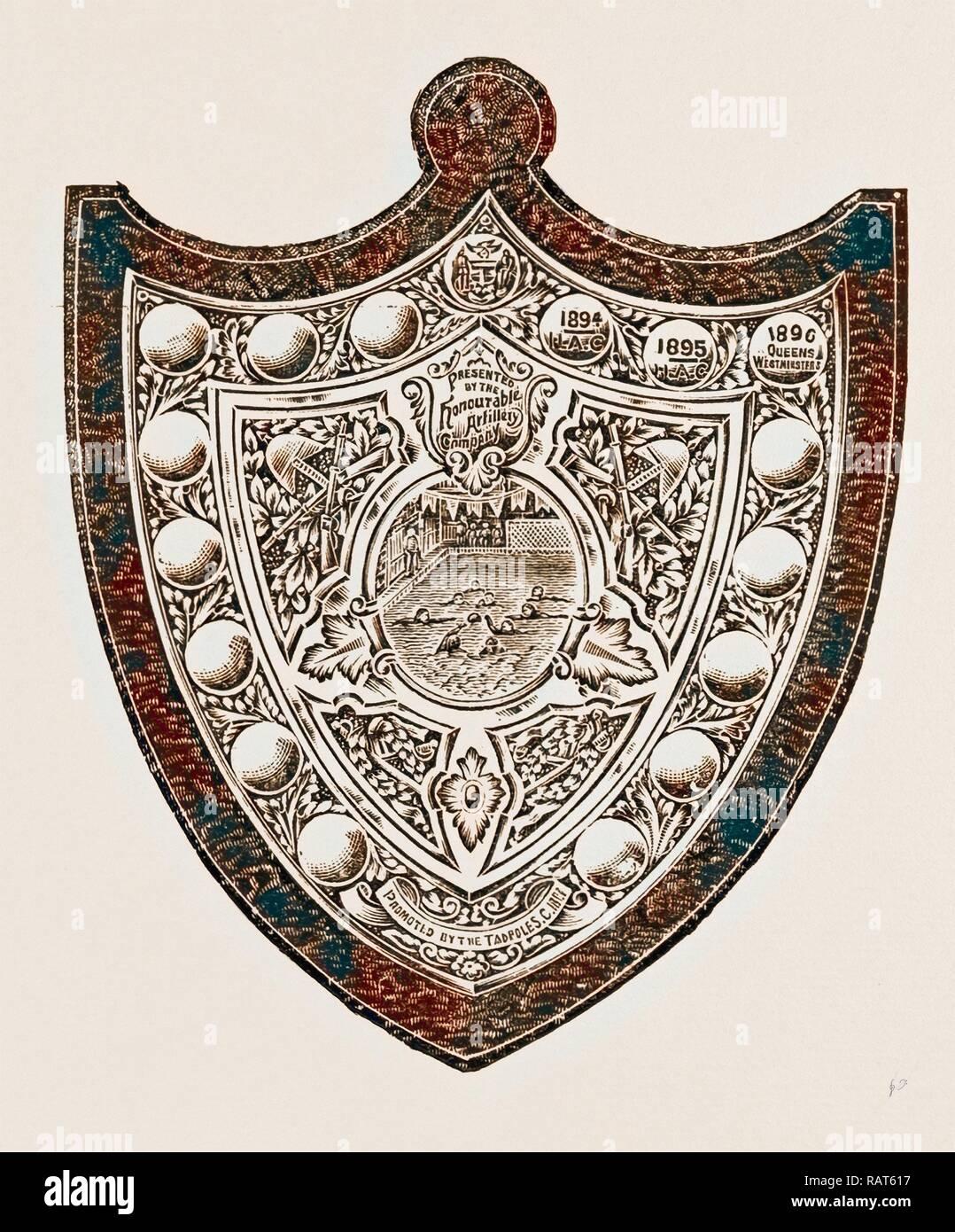 Ces éléments indiquent que l'Honorable Artillery ont remporté deux fois le bouclier et la reine une fois Westminsters. Les armoiries de repensé Photo Stock