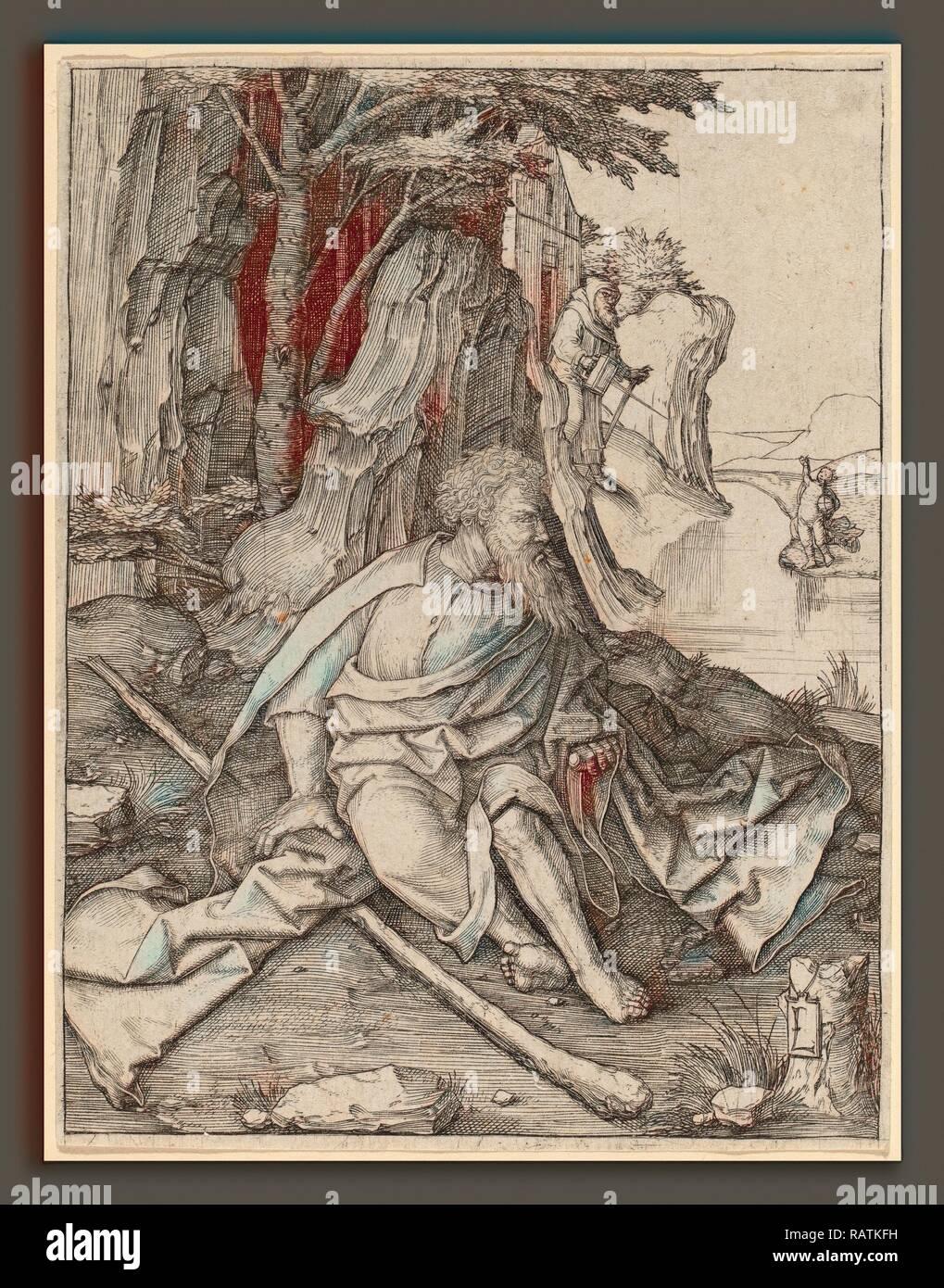 Lucas van Leyden (1489-1494, Russisch - 1533), Saint Christophe à la frontière d'une rivière, ch. 1505-1506 repensé Banque D'Images