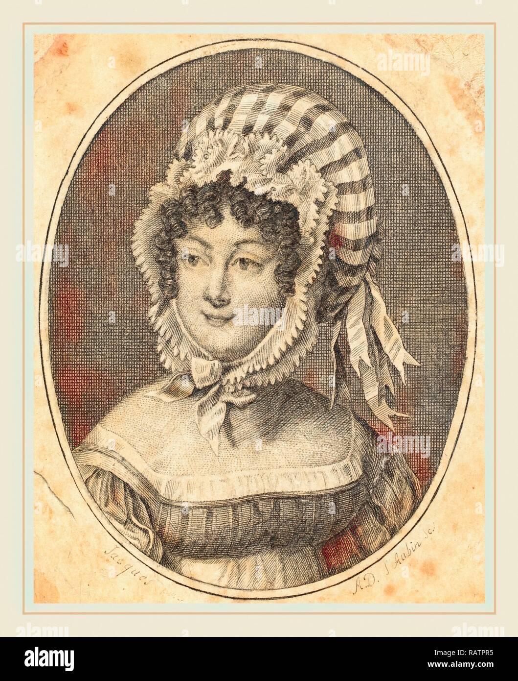 Augustin de Saint-Aubin, français (1736-1807), chef d'une femme portant un bonnet à rayures, la gravure. Repensé Banque D'Images