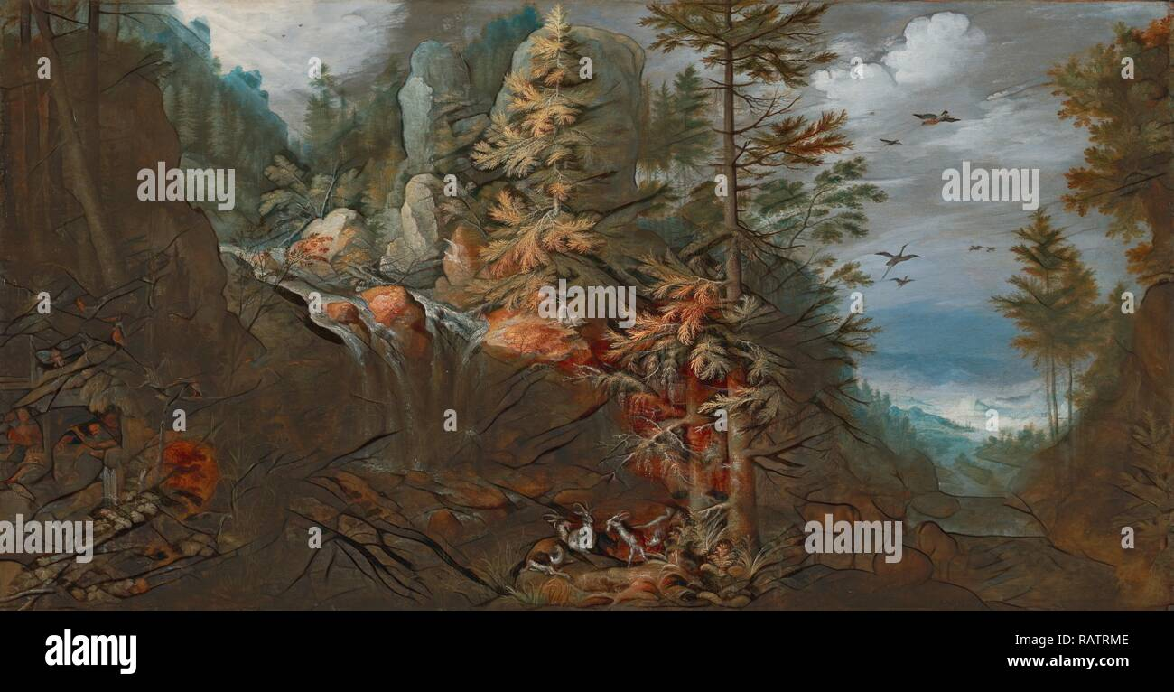 Paysage avec la Tentation de Saint Antoine, Roelandt Savery, Flamand, 1576 - 1639, France, Europe, 1617, huile repensé Photo Stock