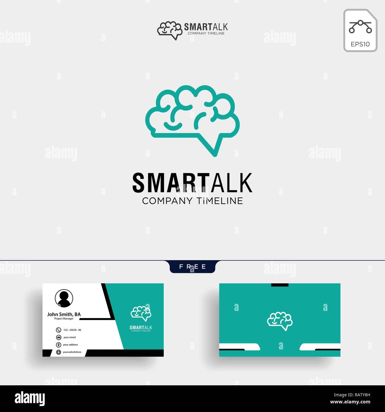 Cerveau Consulter Dessins De Logos Logo Concept Vector Carte Visite Avec Licone