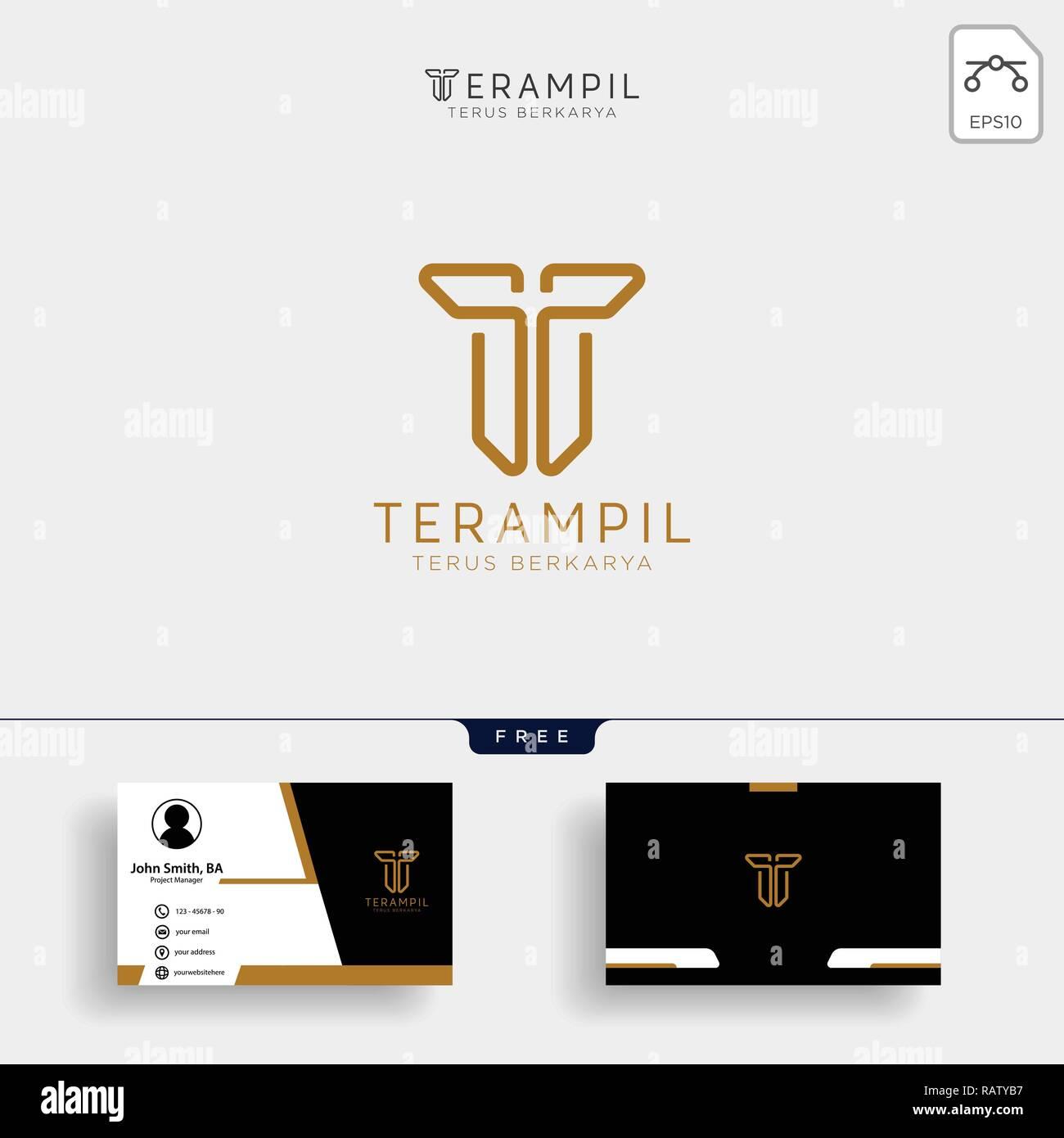 Lettre T Logo Dor Vecteur Design Avec Des Couleurs De Luxe Et Le Monogramme Conception Carte Visite Gratuit