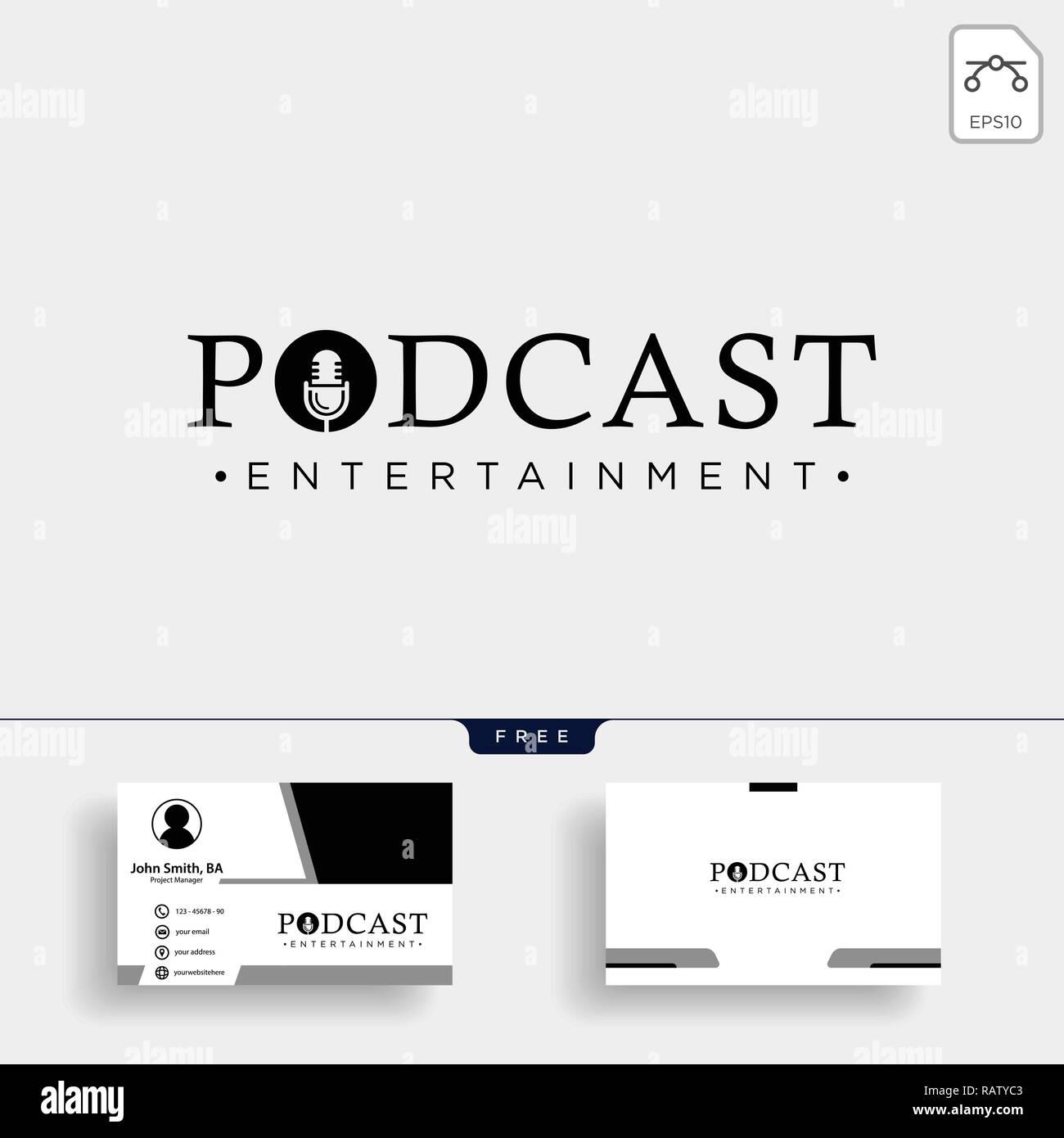 Typographie De Podcast Badge Icone Stamp Logo Stock Vector Illustration Avec Carte Visite
