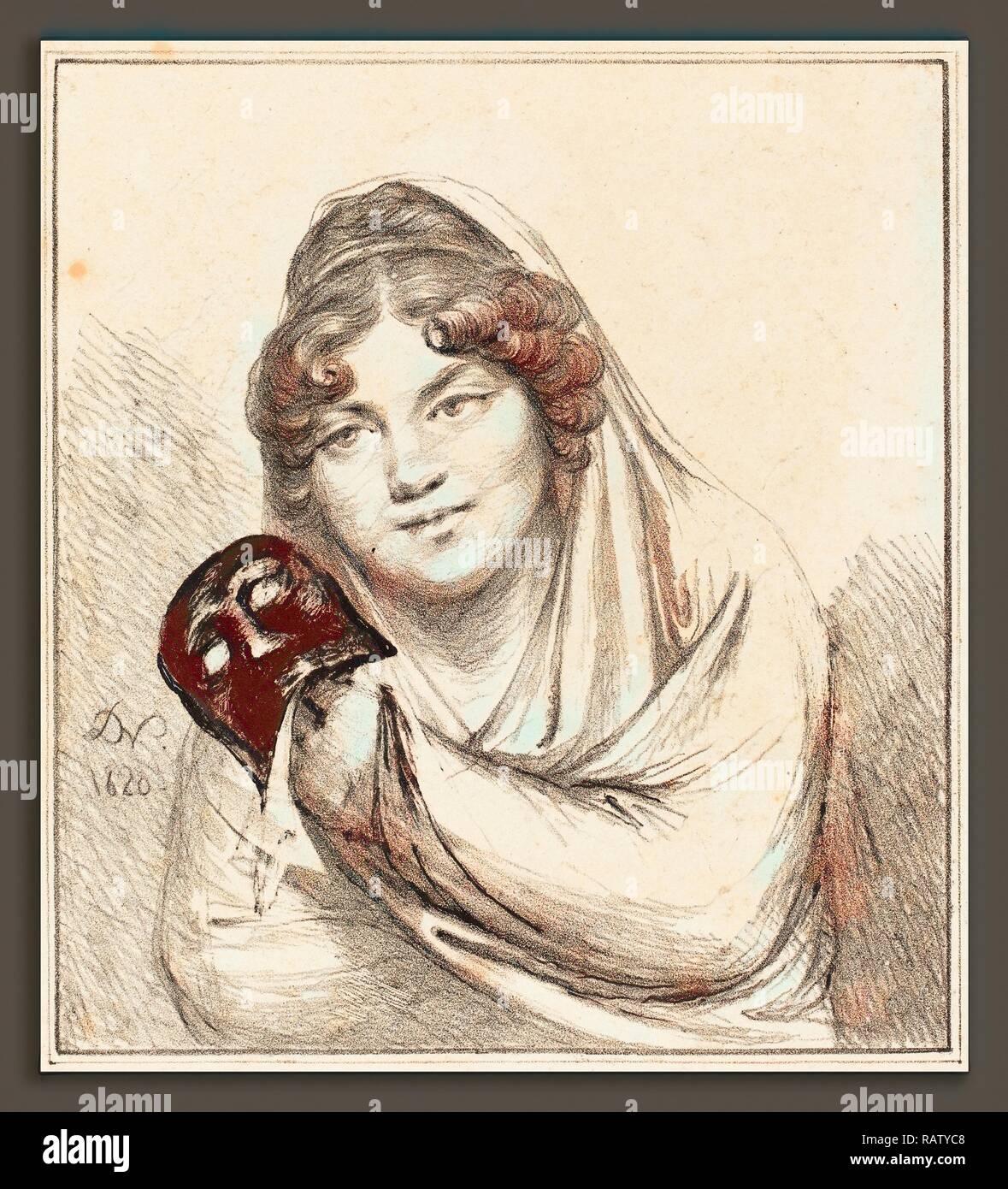 Le Baron Dominique Vivant Denon (Français, 1747 - 1825), fille avec un masque, 1820, lithographie. Repensé par Gibon. Classic repensé Banque D'Images