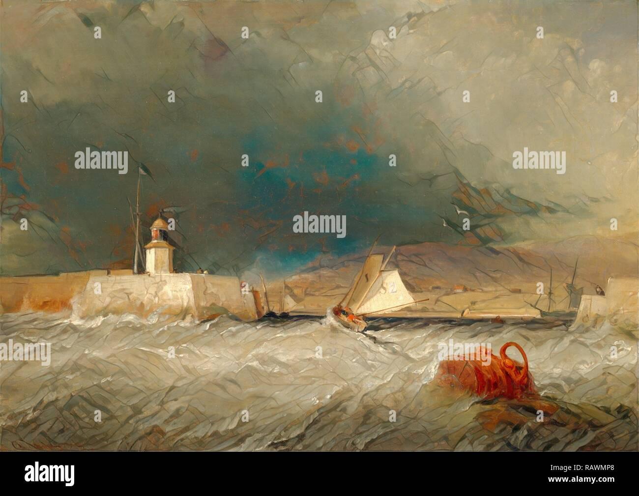 """Port sur un jour de tempête, signée et datée en bas à gauche: """"G. Chambers 1835', George Chambers, 1803-1840, British repensé Photo Stock"""