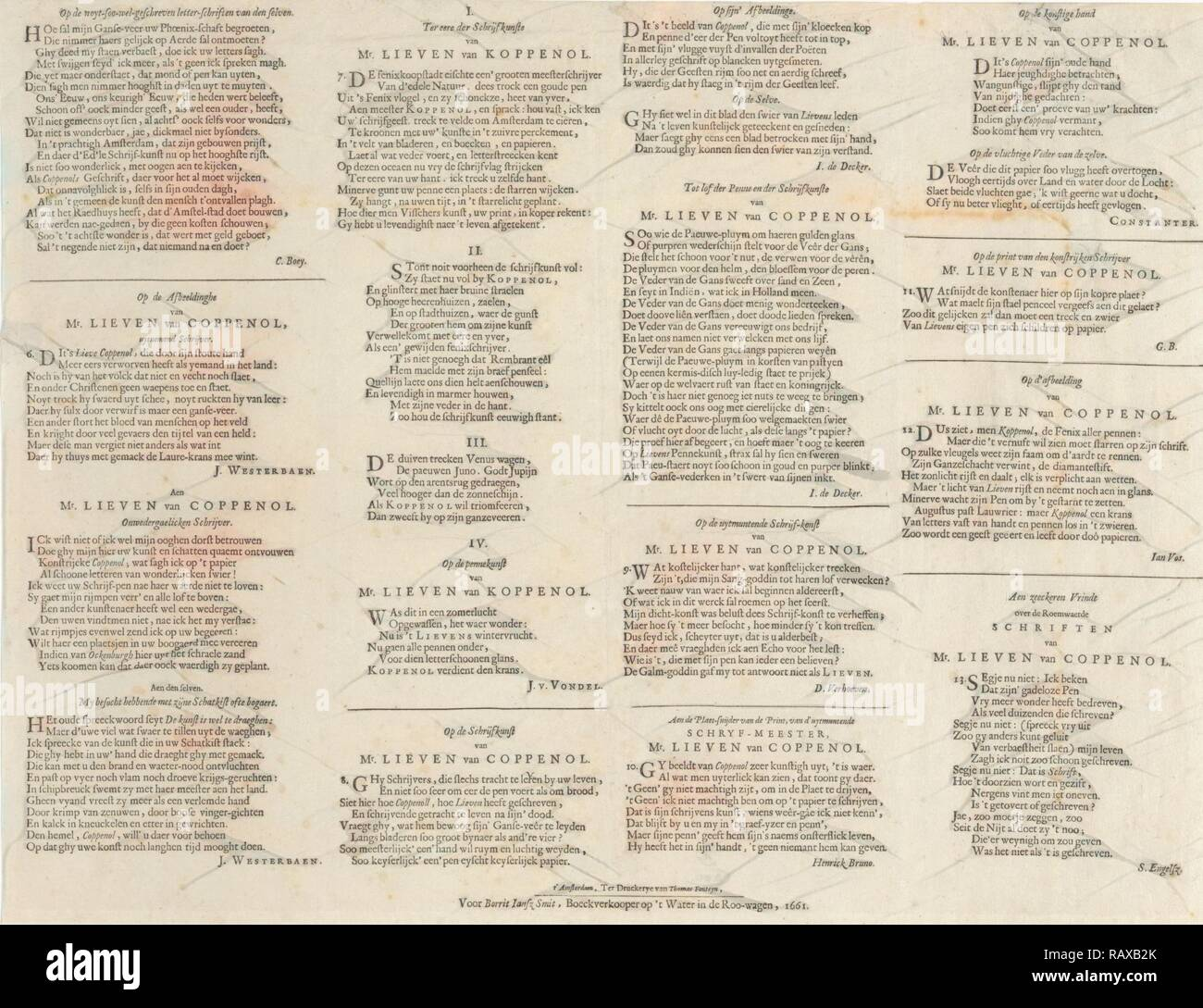 L'éloge de poèmes divers auteurs Lieven Willemsz ou Coppenol, Cornelis Boey, Jacob Westerbaen, Joost van den Vondel repensé Banque D'Images