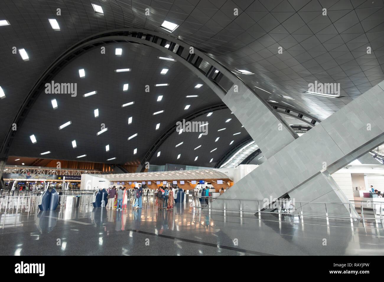 Intérieur de l'Aéroport International Hamad moderne inn Doha, Qatar Banque D'Images
