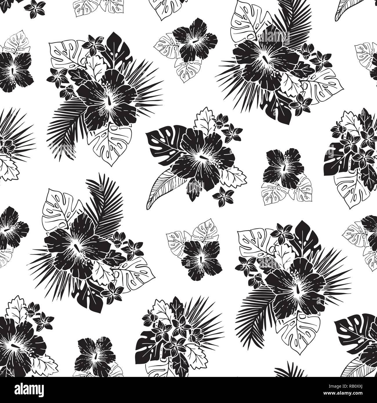 Le Noir Et Blanc Et De Feuillage Exotique Hibiscus Vector