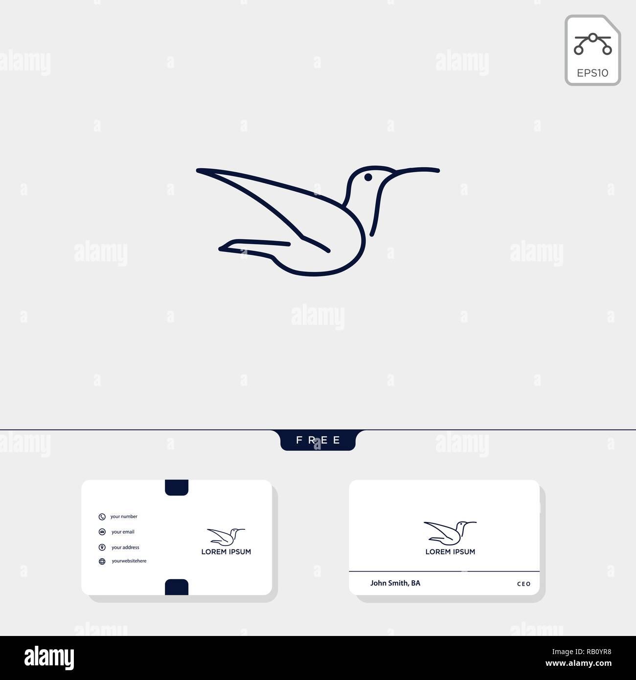 Oiseau En Vol Dart Ligne Modele Logo Et Carte De Visite Free Vector Illustration Inspiration