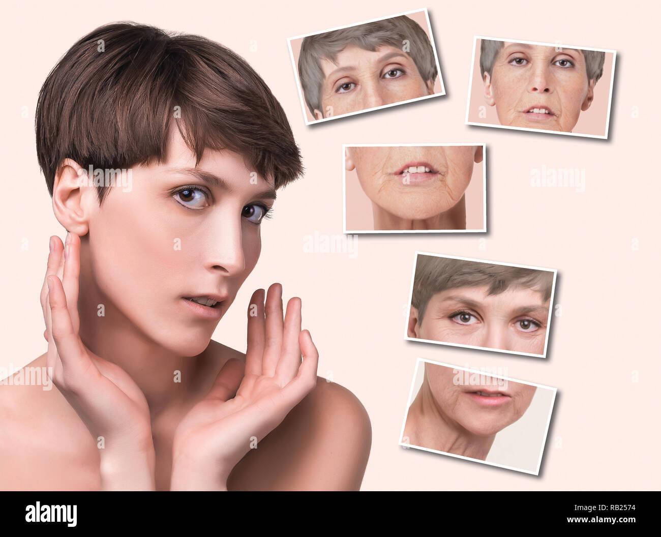 Anti-âge, soin de beauté, le vieillissement et les jeunes, levage, soin, chirurgie plastique concept. Photo Stock