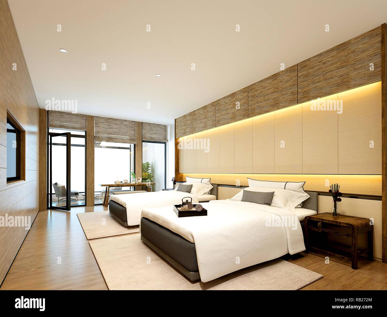 Rendu 3D chambre d\'hôtel de luxe moderne Banque D\'Images ...