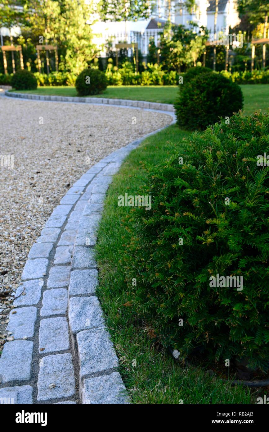 Bordure en pierre,pelouse,lois,herbe,if,boules,jardin,design ...